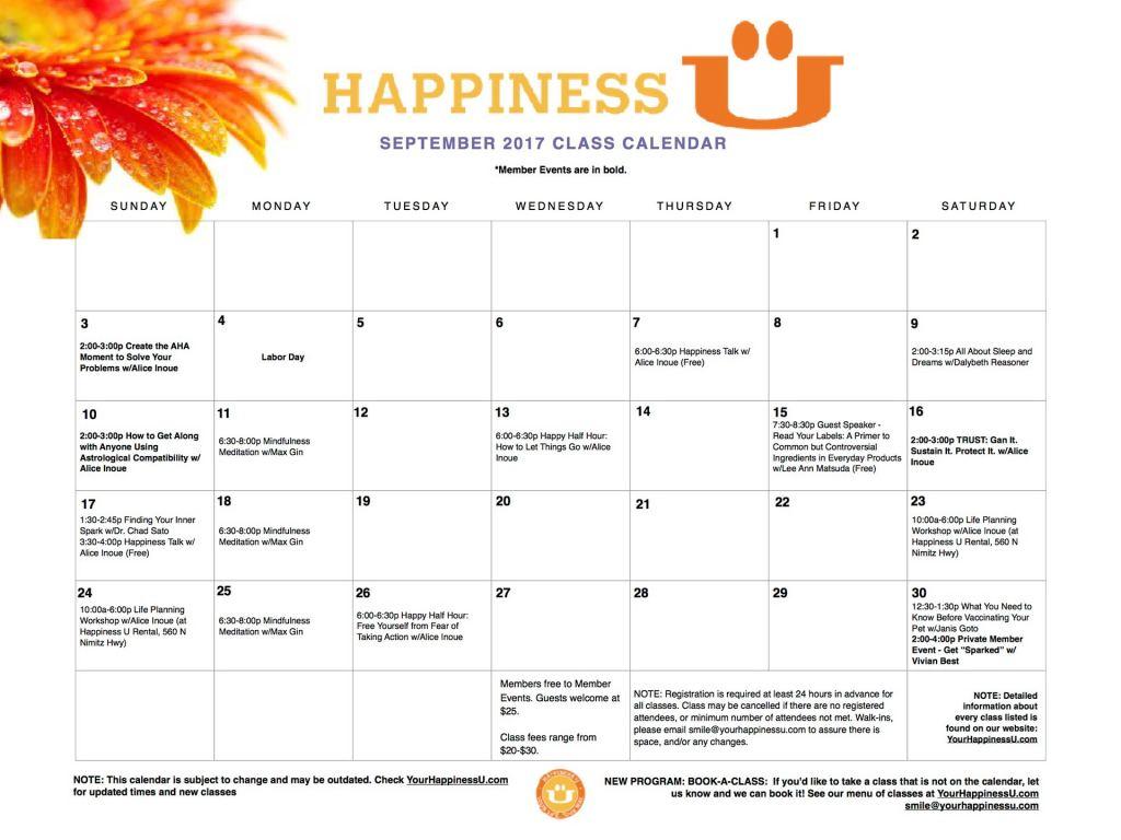 Happiness U Class Calendar September 2017