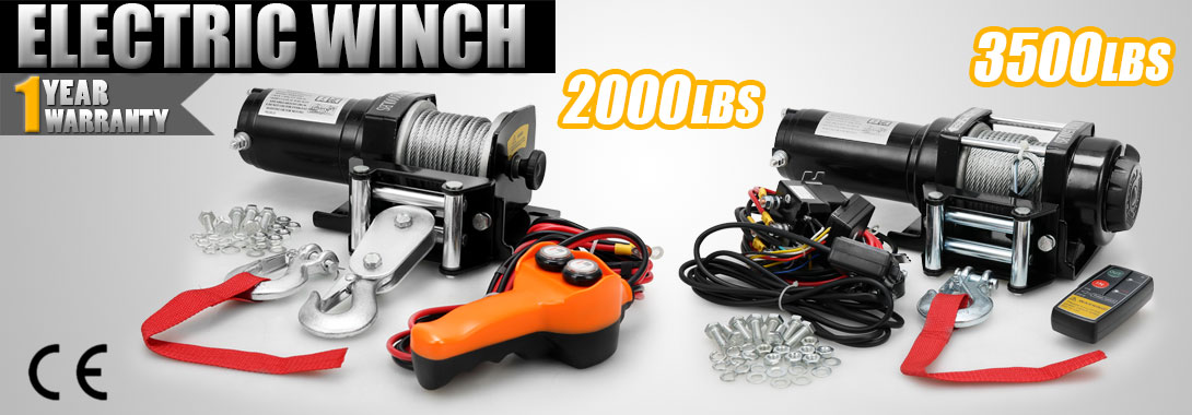 12V Electric Recovery Winch 3500 Lb With Wireless Remote