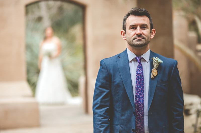 living desert wedding first look