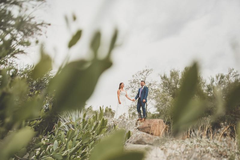 living desert wedding portrait