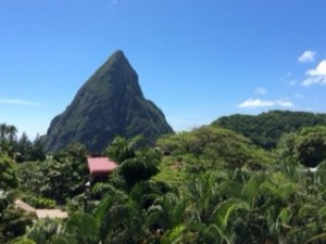 Direct views of the Pitons from the Luxe Lodges and Restaurant