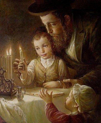 Lighting the Hanukkah Menorah