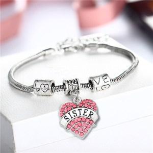 bracelet-ladies-sister-pink-crystals-charm-heart