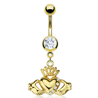 body-jewellery-navel-ring-surgical-steel-14kt-gold-plated-multi-CZ-claddagh-dangle