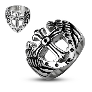 ring-mens-stainless-steel-band-royal-cross-sheild