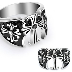 ring-mens-stainless-steel-black-gem-three-medieval-cross