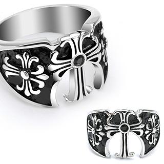 ring-mens-stainless-steel-black-gem-three-medieval-cross