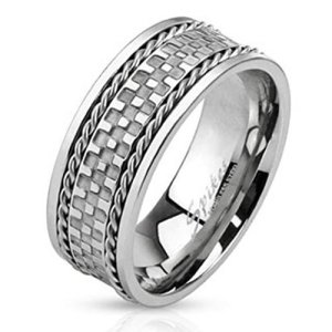 ring-mens-stainless-steel-checkered-center-double-braided-lines