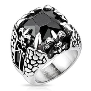 ring-mens-stainless-steel-faceted=onyx-square-gem-royal-fleur-de-lis-dragon-claw-cast
