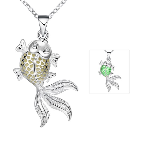 Silver-Plated-Magic-Round-Fairy-Locket-Glow-In-The-Dark-Necklace-Gift-Glowing-Luminous-Goldfish-Vintage