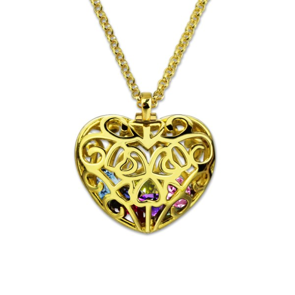 Wholesale-Cursive-Mom-Heart-Cage-Pendant-With-2-8-Heart-Shaped-Birthstones-Gold-Color-Family-Necklace
