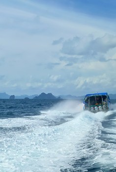 Speed boat rides can get bumpy during the monsoon season.