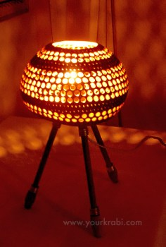 Lamp made from coconut shell