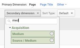 choose secondary dimension medium in google analytics