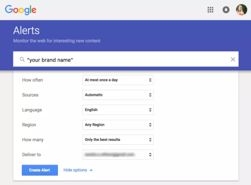 set up google alerts for unlinked brand mentions