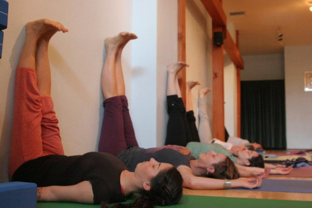 legs up the wall Yoga for back pain