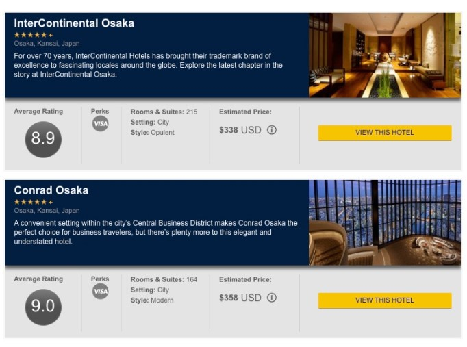 Visa Luxury Hotels