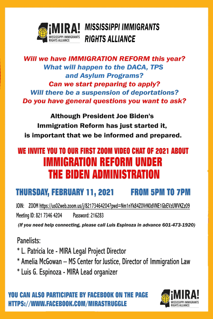 Immigration Reform Virtual Meeting Flyer, English