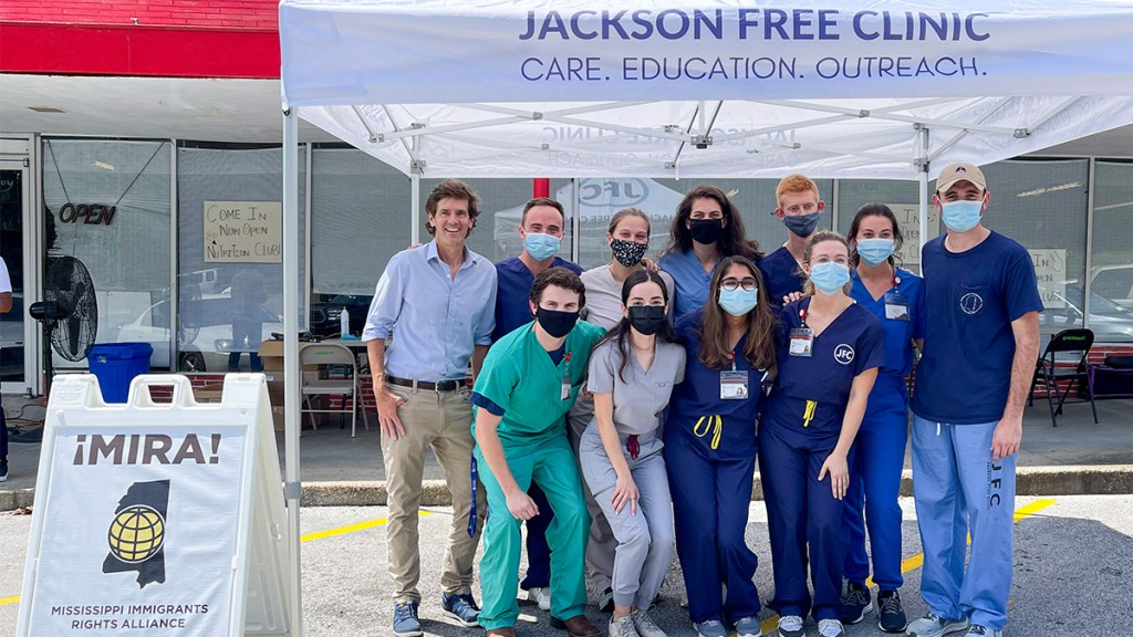 Pop-up vaccination event in Laurel, MS with the Jackson Free Clinic, joined by Dr. Thomas Dobbs, State Health Officer for the MSDH