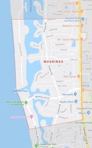 Area map of The Moorings neighborhood in Naples FL