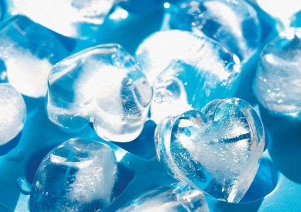 Blue heartshaped ice cubes