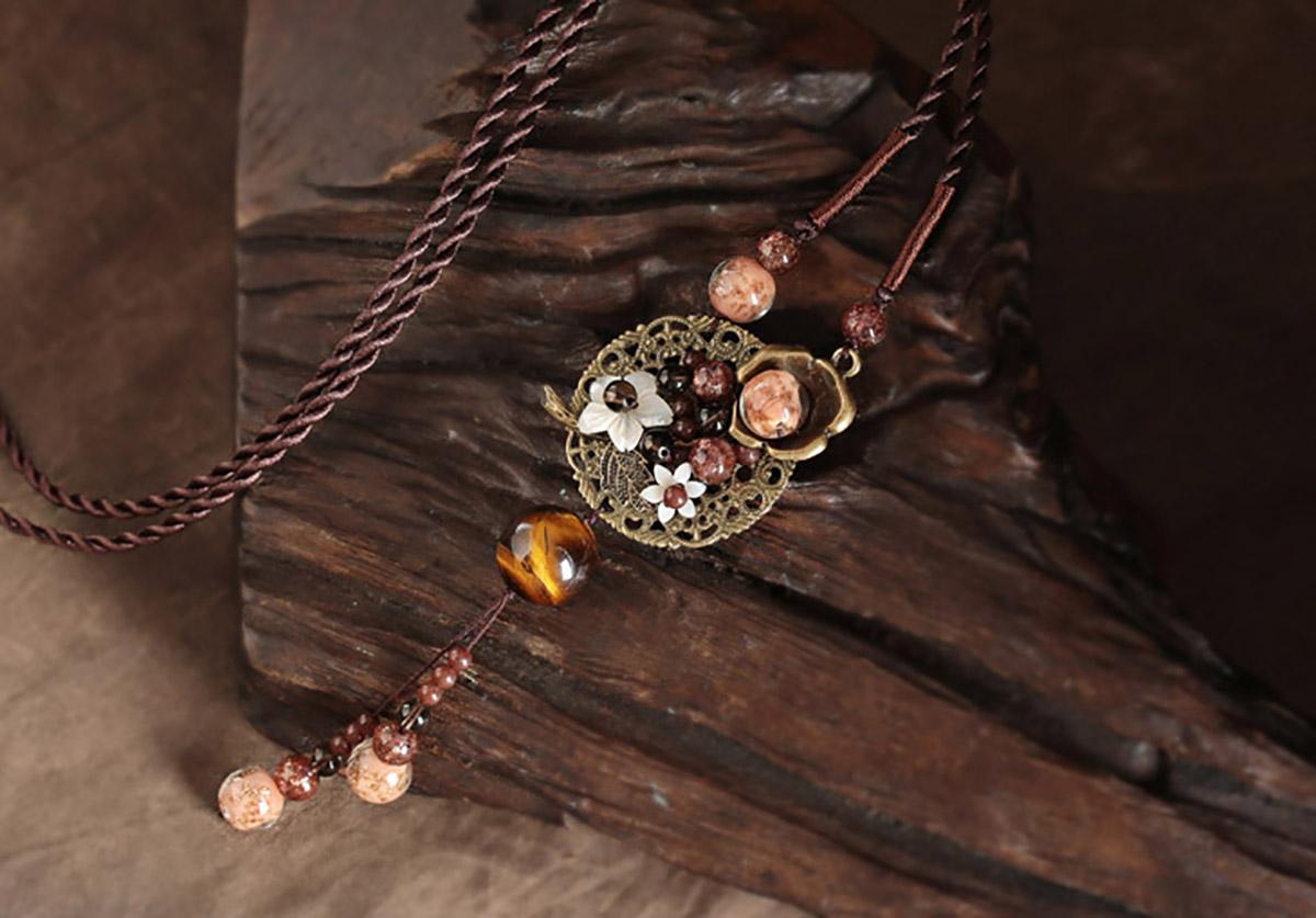 Natural tiger eyes agate Handmade Gemstone Jewellery Necklace  N3