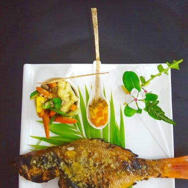 Grilled red snapper and sauteed veggies