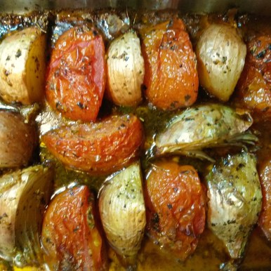baked onions garlic and tomatoes