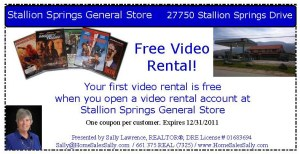 Get a free video rental from the Stallion Springs General Store
