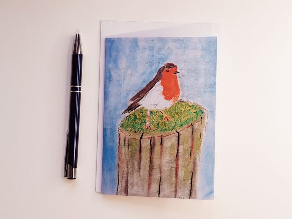 Robin on a Fence A6 Greetings Card