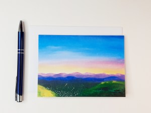 Purple Hills at Dusk Greetings Card