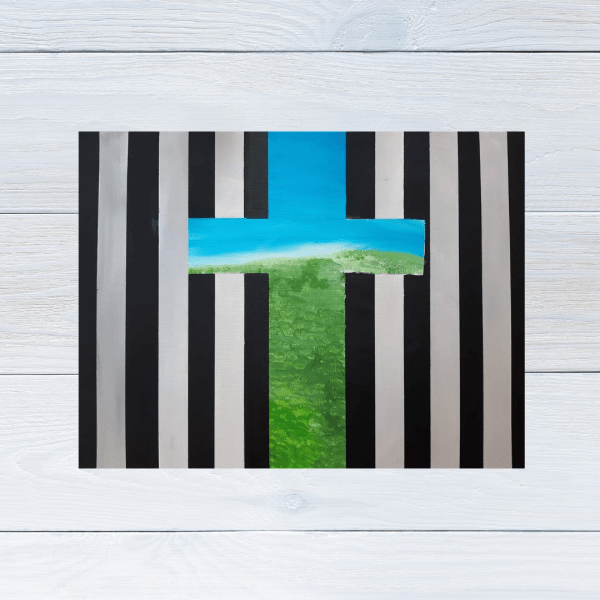 Freedom themed abstract painting with black bars on a grey background with a cross shaped hole where you can see green grass and a blue sky