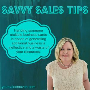 Business cards, rapport, sales tip