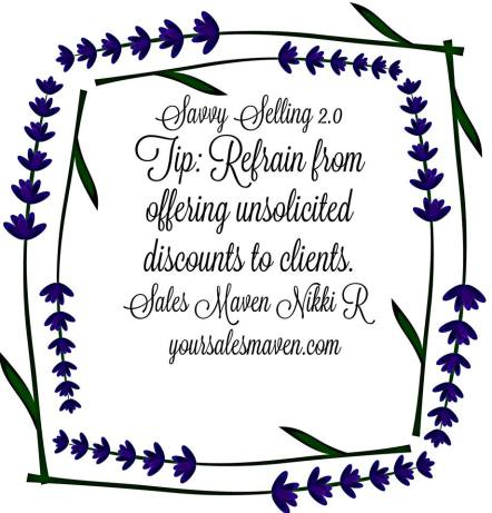 Savvy Sales Tip about offering Discounts