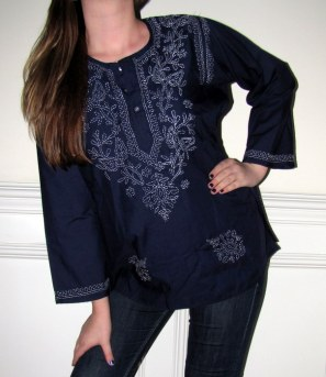 Womens Tunics Navy Cotton