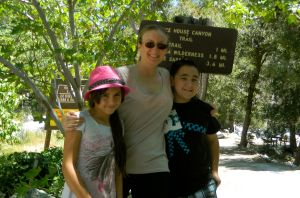 Emily, Hunter, and I at the entrance to Ice house Canyon Trail.