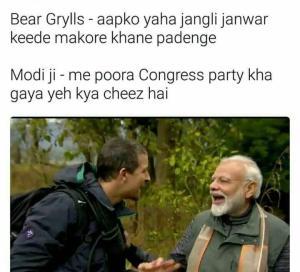 Modi and man vs wild memes and Whatsapp status