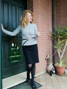 grey jumper and pencil skirt
