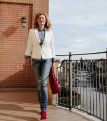 denim shirt, white blazer, red ankle boots