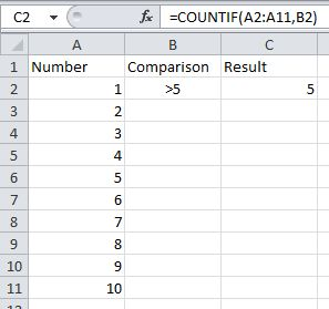 Countif with comparison in cell