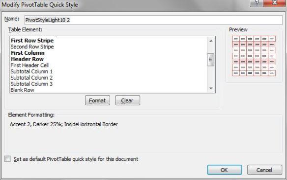Pivot Table Modify Style Dialog