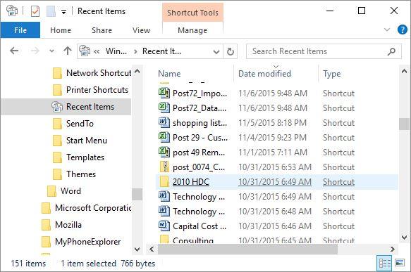 Recent Files folder