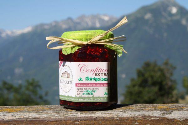 confiture de framboises de la yourte permaculture nature ferme bio yourte végétale saint françois longchamp savoie