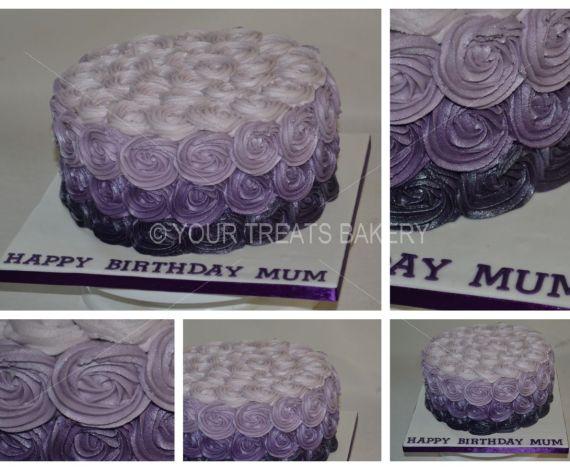 Purple Rose Swirls Cake