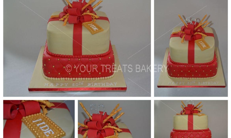Red Stylish Gift Cake
