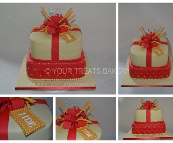 Red Stylish Gift Cake