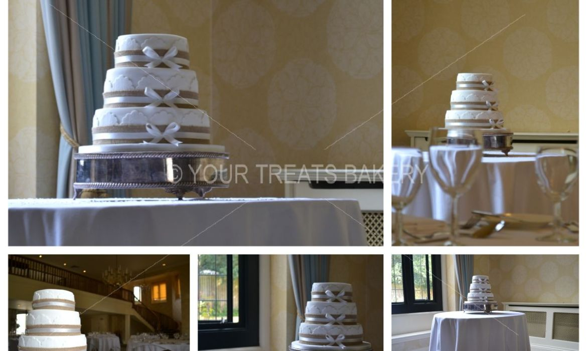 Rustic Ribboned Lace Wedding Cake