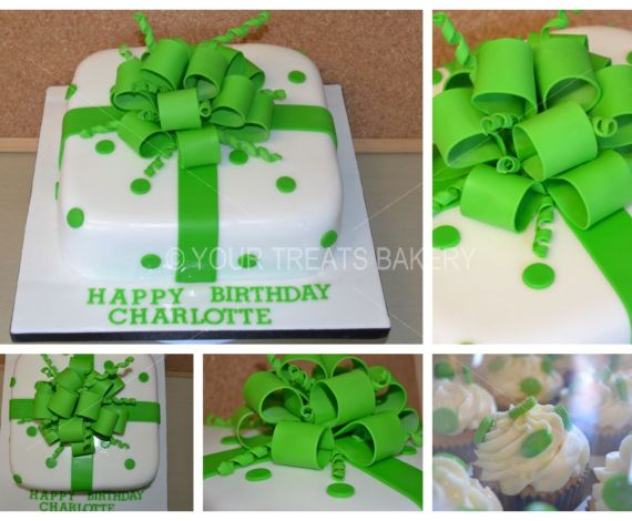 Square Green Bow Cake