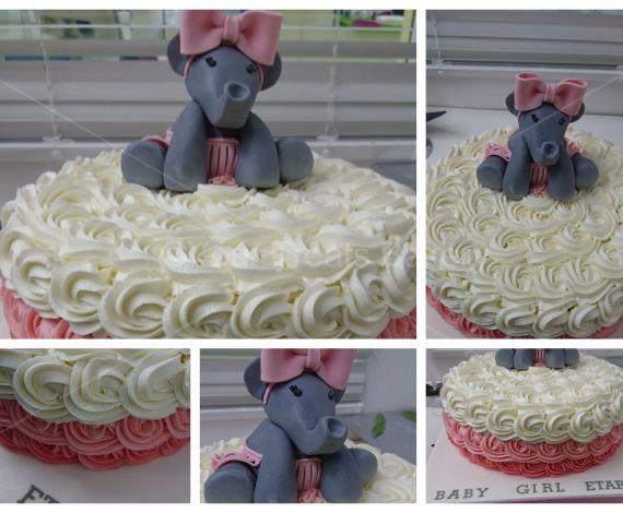 Elephant Rose Swirl Cake