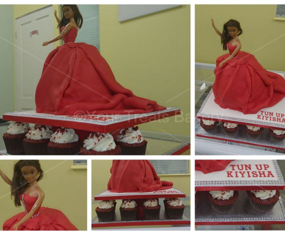 Red Princess Dress Cake